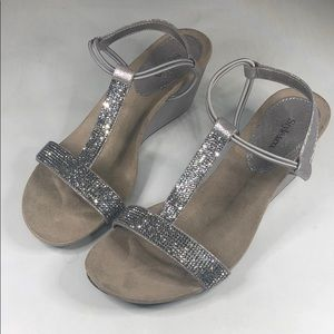 p265 Style & Co Embellished Evening Wedge Sandals
